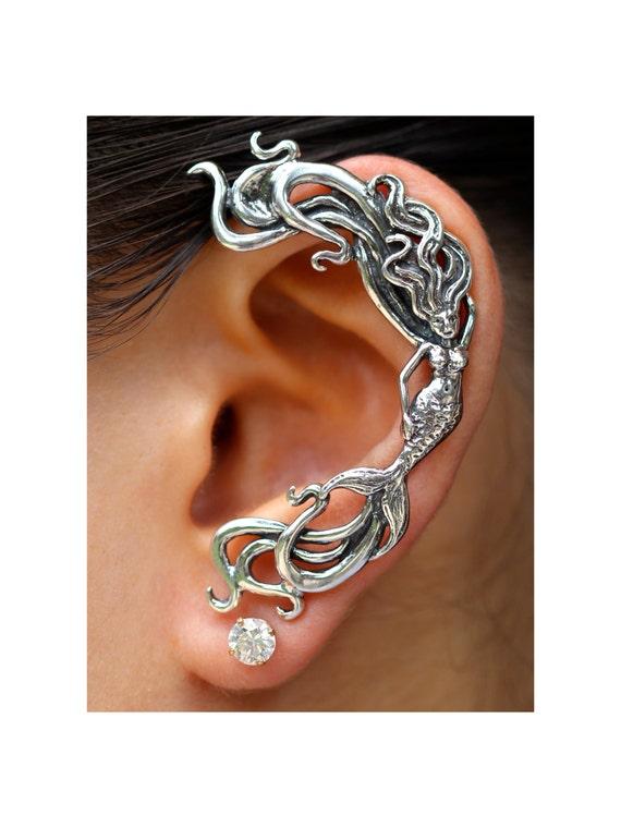 Mermaid Ear Wrap Silver Mermaid Ear Cuff Wave Ear Cuff Wave Rider Mermaid Ear Wrap Mermaid Jewelry Mermaid Earring Silver Mermaid Ear Jacket