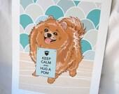 Keep Calm Pomeranian with Scaled Background - 7x9 Eco-friendly Print