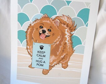 Keep Calm Pomeranian with Scaled Background - 7x9 Eco-friendly Print