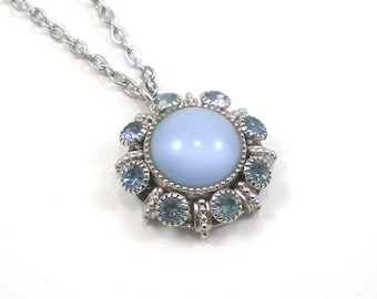 Icy Blue Glass Necklace - Moon Glow Rhinestone Avon Pendant  - Vintage Jewelry - Blue Snowflake Necklace
