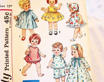 1960s Doll Clothes Pattern Dress Clothes Sewing Pattern Simplicity for 15 inch Dolls such as TINY CHATTY BABY