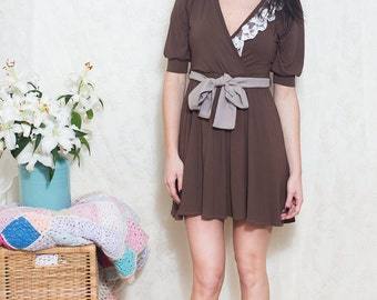 ON SALE-Coffee & Cream Soft Jersey Dress//Off White lace detail// S.M.L.