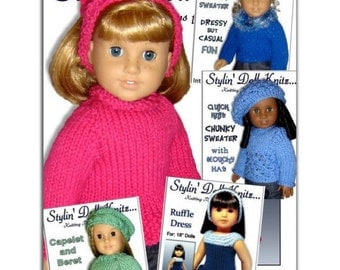 Knitting Patterns for American Girl doll clothes, 18 inch. Instant Download