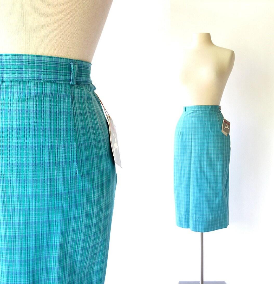 vintage 1960s skirt blue plaid skirt skirt