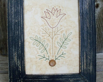Country Rustic Tulip Stitchery, Farmhouse, Cabin Decor, Primitive, Flower, Embroidery, Framed, Flower, Folkart, Handmade, Rustic, Picture