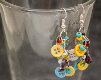 Button Dangle Earrings / Turquoise Blue Yellow Brown White Jewelry / Fun Silver Earrings by randomcreative on Etsy