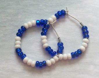 BLUE & WHITE NATION Hoop Earrings - World Flag Jewelry