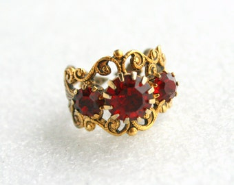 Ruby Red Filigree Ring Vintage Rhinestone Antiqued Gold Costume Jewelry Adjustable Ring