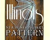 "DIY State String Art Pattern - Illionois - 10.5"" x 6"" - Hearts & Stars included"