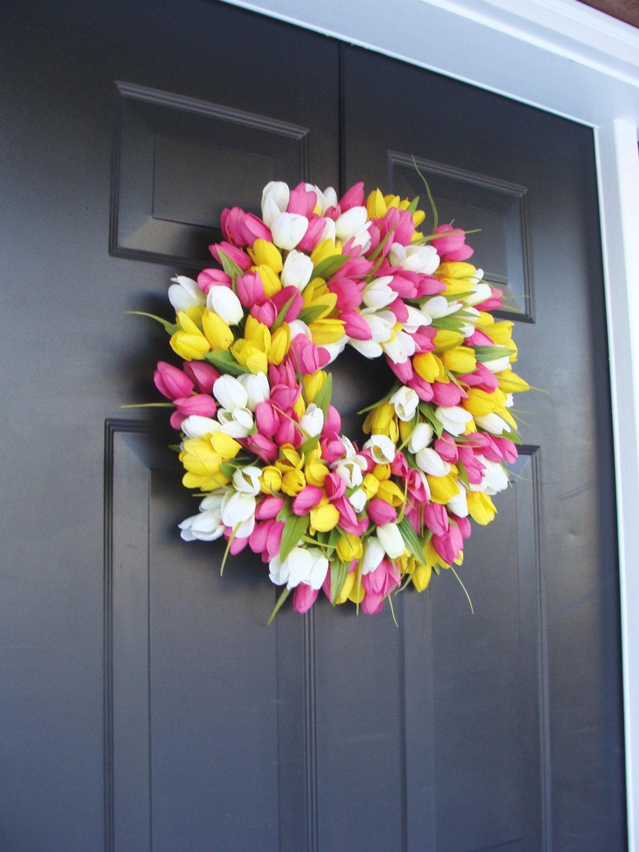Attractive Silk THIN Spring Tulip Wreath, Storm Door Wreaths, Front Door Outdoor Wreath,  Front Door Spring Decor Sizes 14 24 Inch
