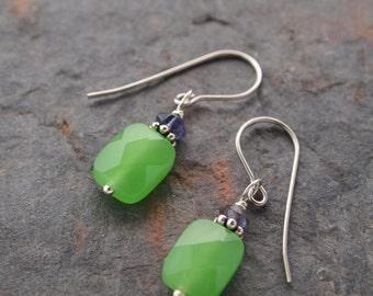 Iolite and Green Quartz Earrings