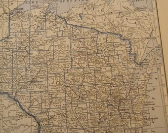 1934 State Map Wisconsin - Vintage Antique Map Great for Framing