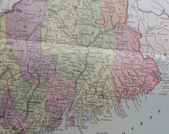 1887 State Map Maine - Vintage Antique Map Great for Framing 100 Years Old