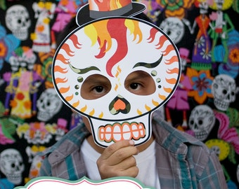 Dia De Los Muertos Day of the Dead, Mexican Holiday, sugar skulls, calavera PHOTO BOOTH PROPS >> shipped to you <<  | Paper and Cake