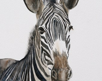 ORIGINAL painting watercolor painting original WATERCOLOR painting watercolor animal painting zebra painting art nursery art 8x10