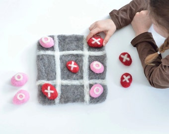 Love Rocks Game - Tic Tac Toe with Wet Felted Rocks and Wool Game Board - Eco-Friendly Kids Toy in Pink Red and Gray