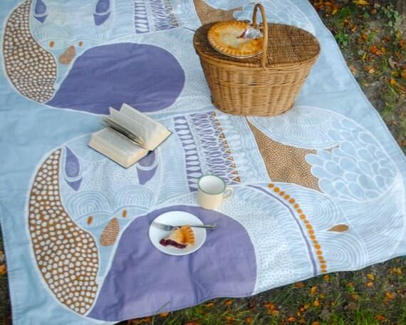 PICNIC Blanket- Large Rare Marimekko Blanket- Modern Woodland Fox- Personalized Gift (Last One)