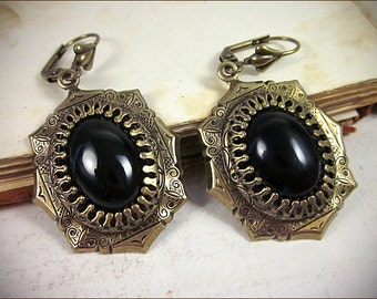 Black Gothic Earrings, Victorian Jewelry, Medieval Costume, Wedding, Garb, Tudor, Renaissance, Anne Boleyn, Queen, Royal, MedCol