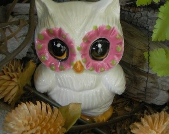 Owl Ceramic  Statue  Vintage Design Pink lime  eyes - Hoots for the Holidays                  Ready to ship items in my shop