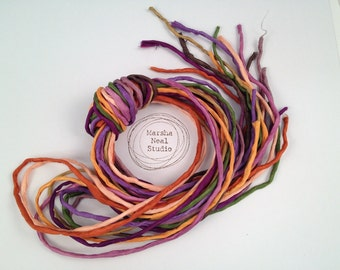 Silk Ribbon Cord Bundle Item No.338 Contains Ten 2mm Silk Ribbons Random Colors