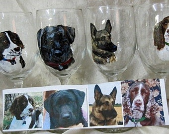 Sample of My Dogs hand painted wine glasses