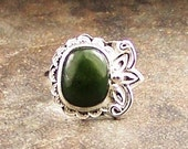 Canadian Jade Sterling Cocktail Ring, Dinner Ring Size 8.5 Ready to ship,  Free US Shipping