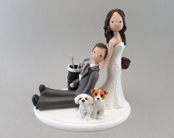 Bride Dragging Groom Personalized Wedding Cake Topper