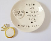 Personalized ring holder engagement gift ring dish unique keepsake handmade by Cathie Carlson