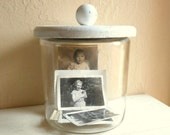 Large Glass Jar with Shabby Chic White Wood Lid Wooden Handle Big Huge