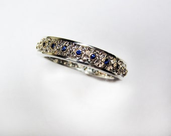 Sapphire Filigree Wedding Band for Him - in Recycled Silver and 14K Gold