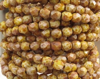 6mm Faceted Opaque Honey Wheat Picasso Czech Firepolished Glass Beads - Qty 30 (DW103)