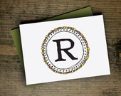 valentine gift personalized monogram stationery, yellow green, initial cards, stocking stuffer, boss coworker gift, letterhappy