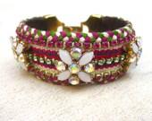 Friendship cuff bracelet, flower rhinestone cuff  bracelet, crystal cuff, flower cuff, bridal cuff, swarovski crystal cuff, bohemian cuff