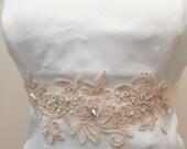 Pale Pink, Blush Pink Wedding Sash  Bridal Belt  Bridal Beaded Appliques