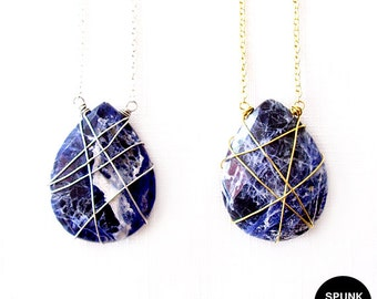 Gold Gemstone Necklace - Wire Wrapped - Sodalite - Blue, White, Gold - The Stoned: Teardrop
