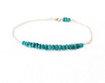 Minimalist Gemstone Gold Filled Chain Bracelet - Beryl - Green - The Skinny: Gemstone Bar