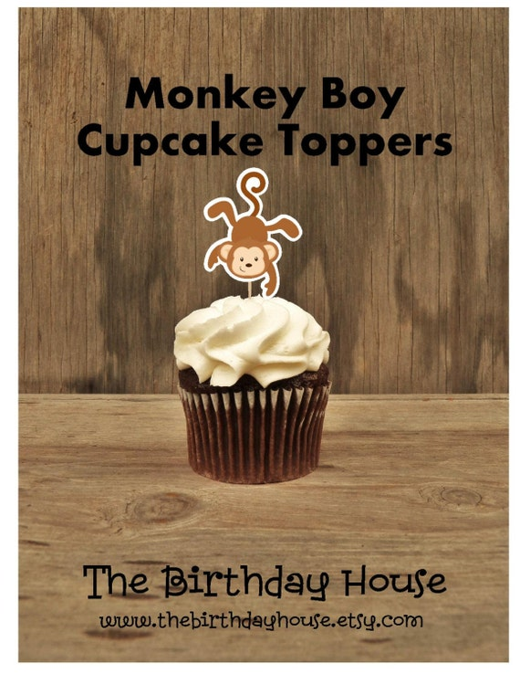 Monkey Birthday Party - Set of 12 Monkey II Cupcake Toppers by The Birthday House
