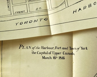 1908 Rare Map of Toronto - Harbour, Fort and Town of York - Capital of Upper Canada 1816