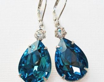 Spring Jewelry - Turquoise Crystal Earrings - Victorian Earrings - Aquamarine Earrings - March Birthstone - MAYFAIR Turquoise