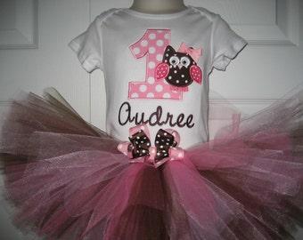 Boutique First Birthday owl tutu set