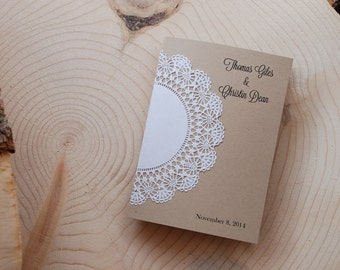 Wedding Program - Handmade Rustic Half-Fold Doily  - Custom - Shabby Chic - Vintage Burlap & Lace