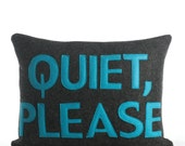 """QUIET, PLEASE - recycled felt pillow 10""""x14"""" - more colors available"""