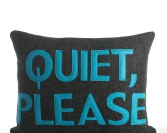 "Throw Pillow, Decorative Pillow, ""Quiet Please"" pillow, 10X14 inch"