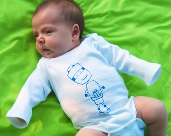 CLEARANCE Thoughtful Robot- Pick Your Size Long Sleeve Baby One Piece Bodysuit