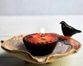 Raven candle holder ceramic Bowl