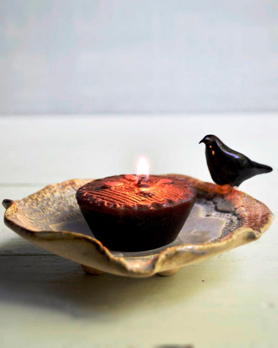 Raven candle holder ceramic Bowl