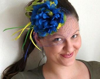 Blue fascinator yellow green wedding hat fascinator hat BRAZIL