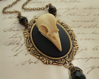 Bat Skull Bird Skull Wolf Skull CHOOSE SKull Cameo Necklace - Gothic Bat Skull Vampire Dracula Death Morbid Cameo