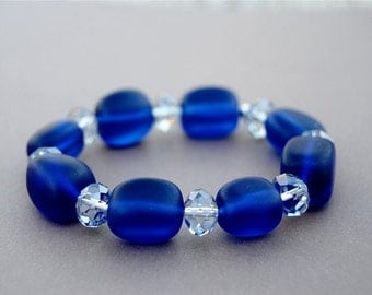 Blue Sea Glass Stretch Bracelet