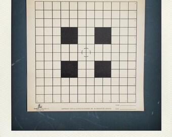 Vintage Graphic Paper Shooting Target Print - Black Grid Squares Bullseye